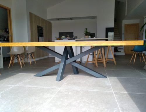 Mobiliers-table acier bois