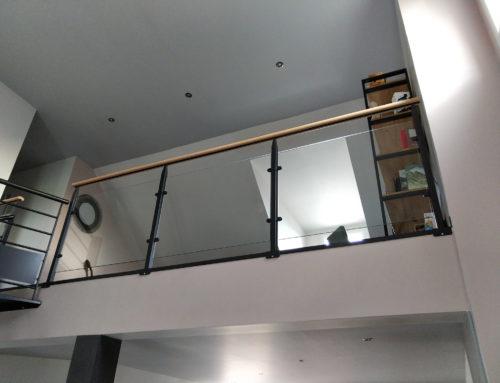 Rambardes-rambarde acier bois verre