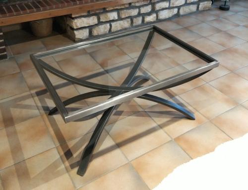 Table basse acier / verre